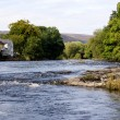 Wide river scene in Wales - Stock Photo