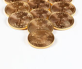 Receding stack of gold coins — Stock Photo