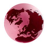 Polar view of a glass earth globe with r — Stock Photo