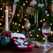 Sherry and cookies for santa — Stock Photo