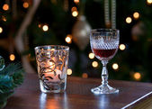 Glass of sherry with candle — Stock Photo