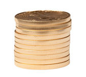 Stack of ten pure gold coins — Stock Photo