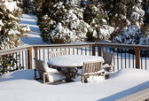 Snowy modern deck — Stock Photo