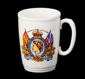 Antique mug celebrating coronation — Stock Photo