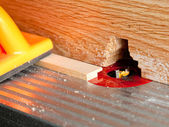 Router blade cutting rebate — Stock Photo
