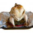 Stock Photo: Roast chicken at grill on tray