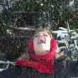 Throwing Snow — Stock Photo
