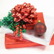 Christmas presents and ornament — Stock Photo