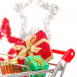 Christmas shopping side view — Stock Photo