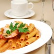 Rigatoni with shrimp - Stock Photo