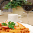 Rigatoni with shrimp — Stock Photo