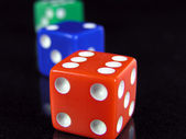 Rgb dice in a row — Stock Photo