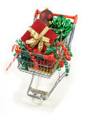 Shopping for christmas goodies — Stock Photo