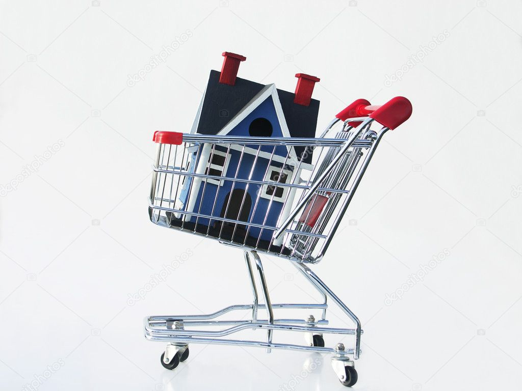 Miniature house in a shopping cart isolated on white illustrating shopping for a home.  Stock Photo #1023271