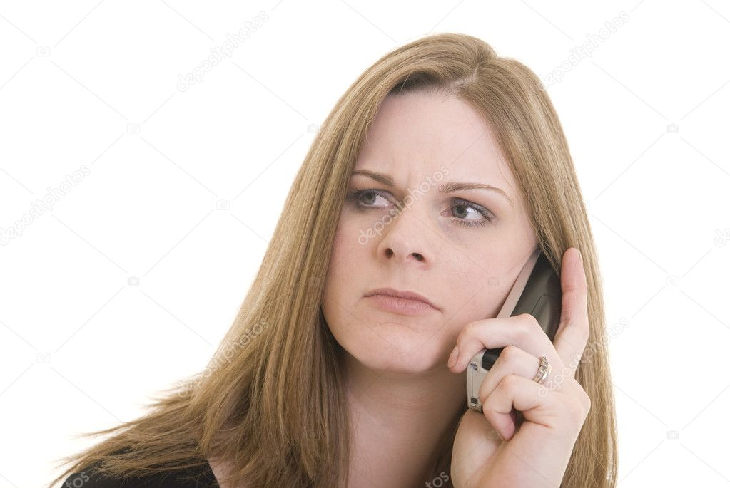 Attractive Caucasian woman with annoyed expression on the phone. — Stock Photo #1026636