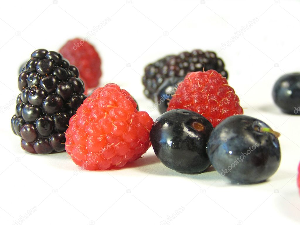 Blackberries, raspberries, and blueberries isolated on white with focus across middle  Stock Photo #1029968