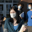 Swine flu at school - Stock Photo