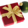 Christmas present and ornament — Stock Photo