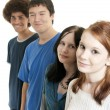Ethnic teen friends smiling - Stock Photo