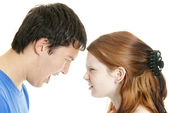 Mixed-race couple arguing — Stock Photo