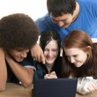 Diverse teens with laptop - Stock Photo