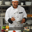 Chef with vegetables — Photo