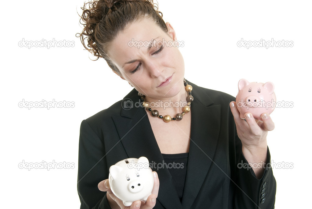 Attractive Caucasian female holding a white and a pink piggy bank making a decision. — Stock Photo #2268088