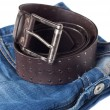 Royalty-Free Stock Photo: Jeans and leather strap.