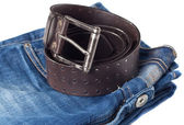 Jeans and leather strap. — Stock Photo