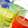 Colour candles in glass glasses — Stock Photo