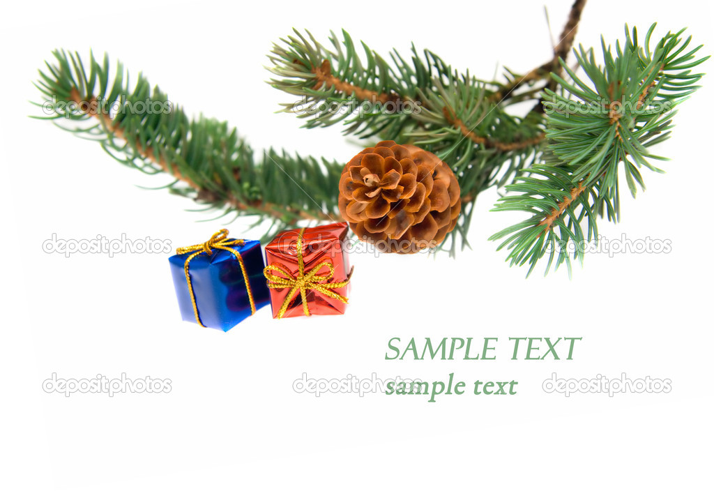Branch of Christmas tree and gifts isolated on white — Stock Photo #1694696