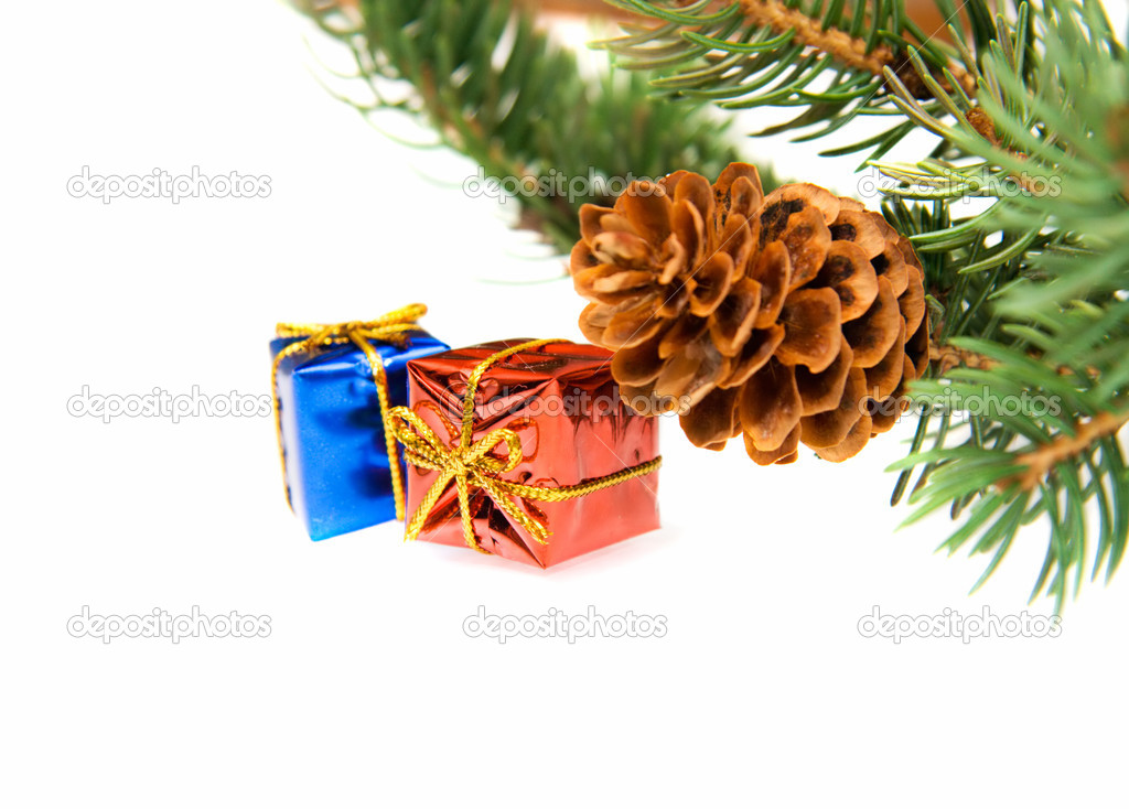 Branch of Christmas tree and gifts isolated on white — Stock Photo #1694715