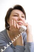 女性は、電話で話す. — ストック写真