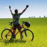 Bike tourist — Stock Photo