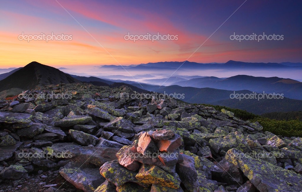 Landscape with mountains under morning sky with clouds — Stock Photo #2625115