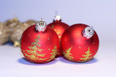 Red New Year balls. — Stock Photo
