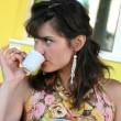 Stock Photo: Woman drinking coffee.