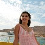 Woman on a ship — Stock Photo