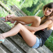 Stockfoto: Young womin summer garden.