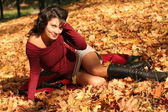 The woman in autumn park. — Stock Photo