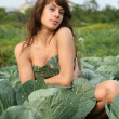 Stock Photo: The girl hides in cabbage.