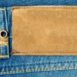 Blank leather label on blue jeans. - Stock Photo