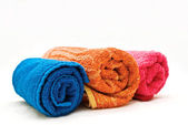 Three colour towels — Stock Photo