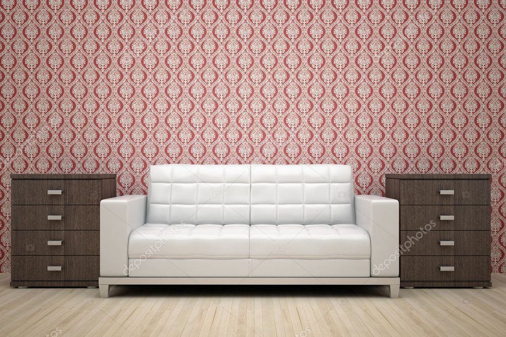 Red Wall And White Sofa Stock Photo Poliop 1928981
