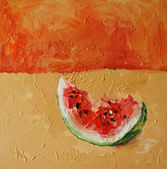 Painting watermelon — Stock Photo