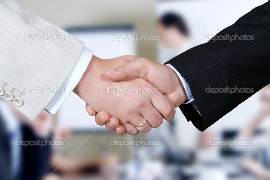 Closeup of a business hand shake between two colleagues  Foto Stock #1023024