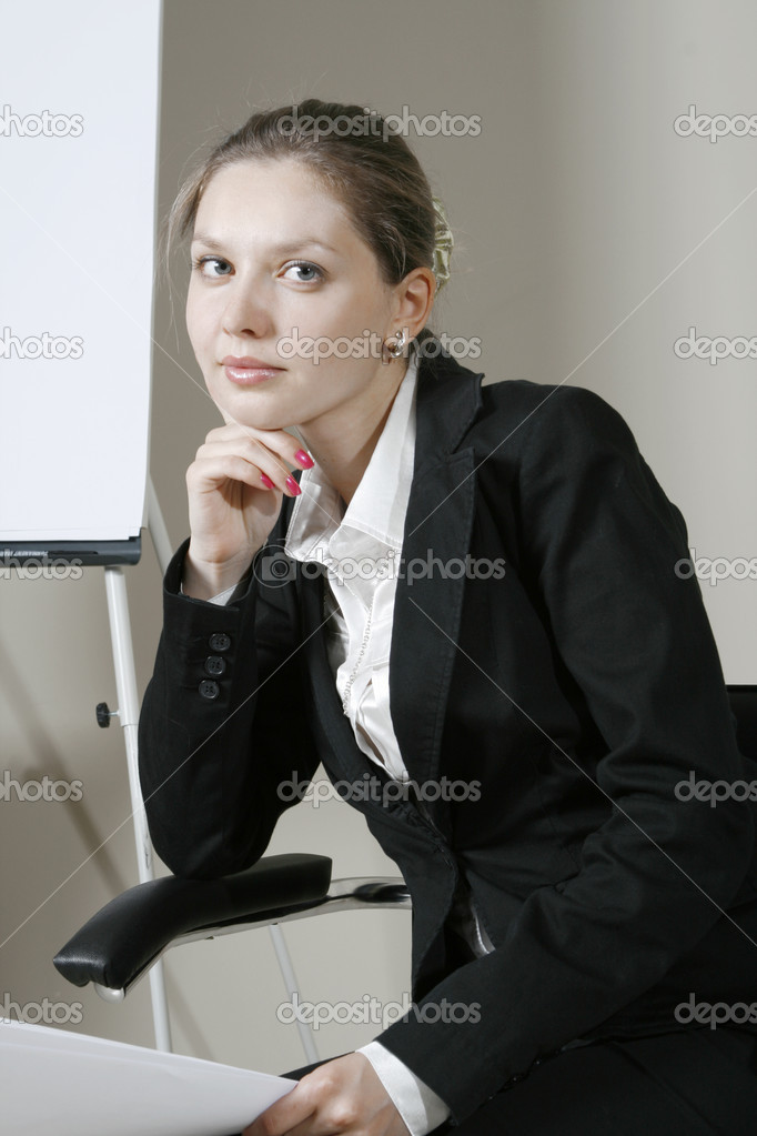Portrait of business woman at a business conference — Stock Photo #1023286