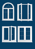 Plastics glasses windows on the dark blue background - vector — Stockvektor