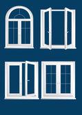Ventanas de vidrios plásticos sobre el fondo azul oscuro - vector — Vector de stock