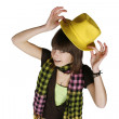 Stock Photo: Girl in yellow hat